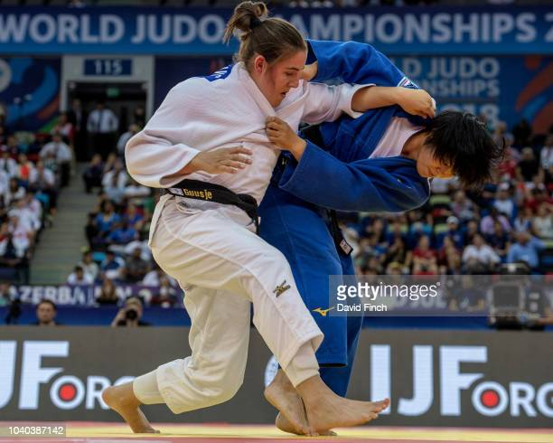 Shori Hamada of Japan here attacking won the u78kg final against Guusje Steenhuis of the Netherlands after Steenhuis was disqualified in extratime...
