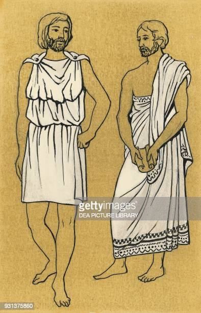 Short chiton and himation men's clothing Greece drawing Greek civilization 5th century BC