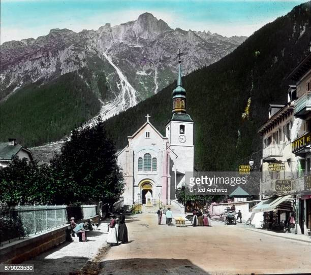 A short cross road leads us to something the elevated parish church in front of a granite block the bust of the first Mont Blanc Jacques Balmat...
