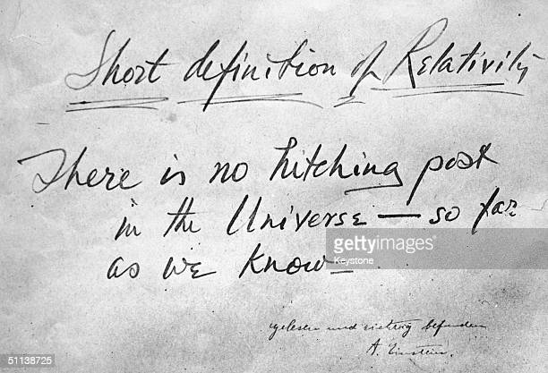 A 'short definition of relativity' written by an official of the Metropolitan Opera New York during a visit by Albert Einstein 12th December 1930...