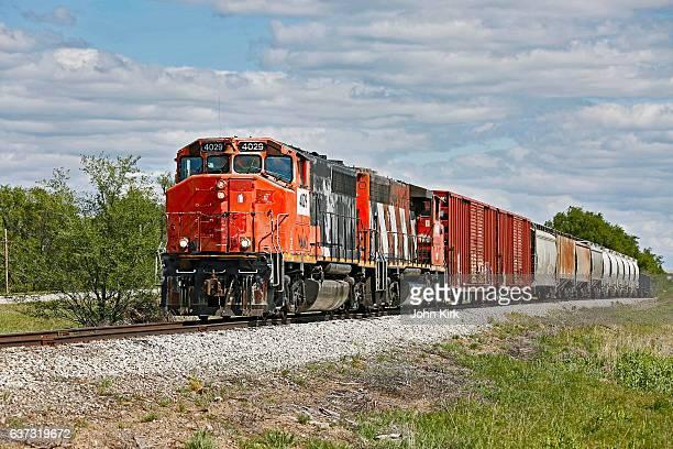 Short line railroad train operating in Kansas