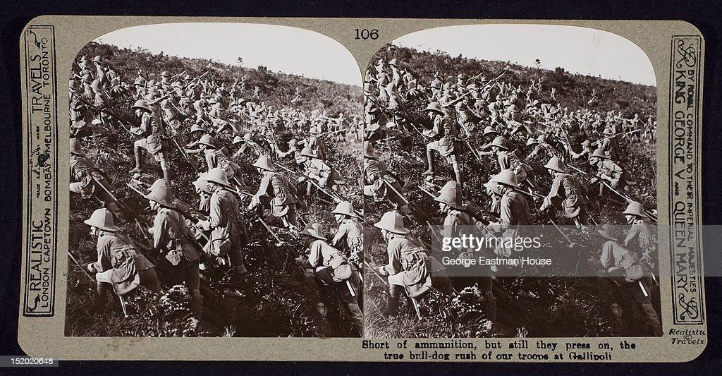 Short of ammunition, but still they press on, the true bull-dog rush of troops, Gallipoli, Turkey, April 1915.