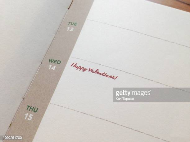 "A short phrase ""Valentines day"" on a personal organizer"
