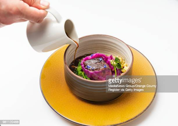 Short rib sauerbraten herb with spatzle red cabbage and au jus by Chef Matt Lee of Restaurant 917 at the Porsche Experience Center in Carson on...