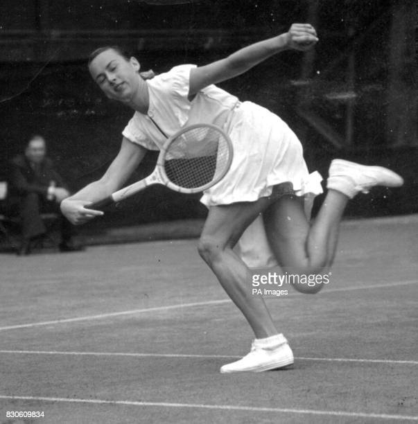 Short skirt and her now famous lace trimmed panties worn by Miss Gertrude Moran America's 4th ranking female tennis player as she plays against Miss...
