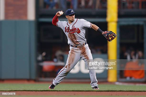 Short stop Jace Peterson of the Atlanta Braves fields the ball in the fourth inning against the San Francisco Giants at ATT Park on August 27 2016 in...