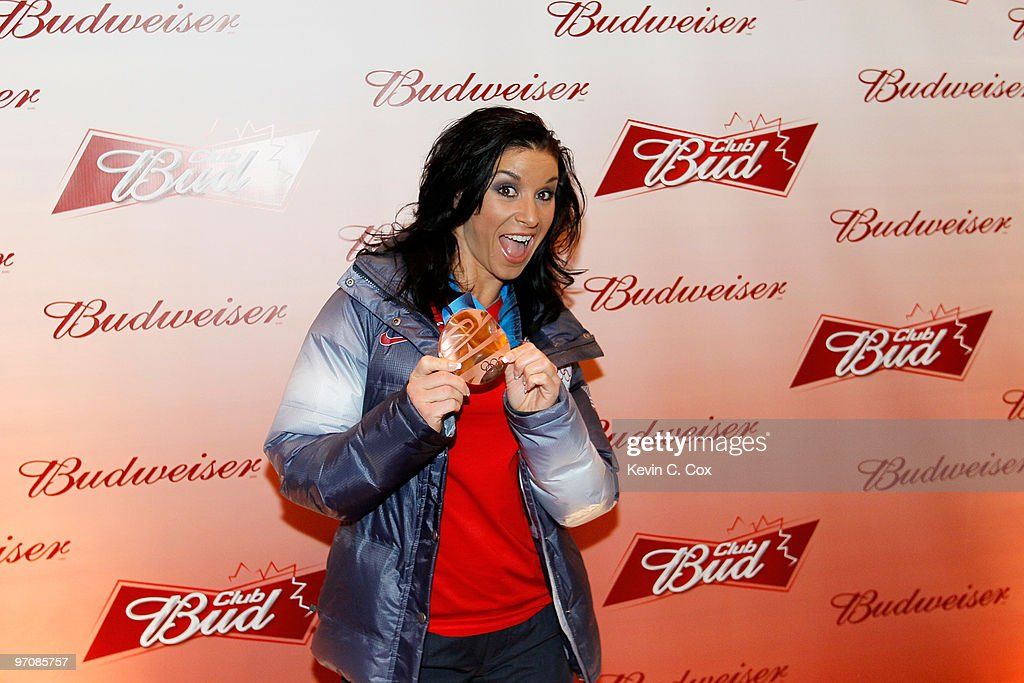 Short track speed skater Allison Baver arrives at the Club Bud Budweiser Party on February 25, 2010 at the Commodore Ballroom in Vancouver, Canada.