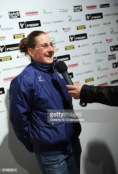 Short track speed skater Cecilia Maffei attends the Italia Team Tour Event on March 23 2010 in Bormio Italy