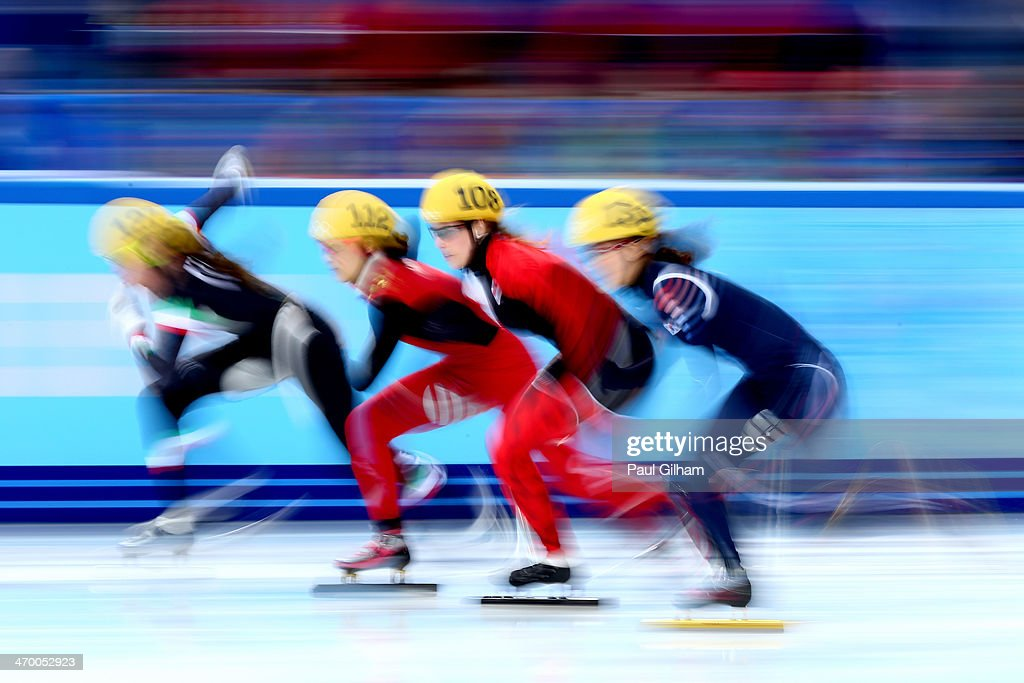 Short track speed skaters compete in the Short Track Ladies' 3000m Relay Final A at Iceberg Skating Palace on day 11 of the 2014 Sochi Winter Olympics on February 18, 2014 in Sochi, Russia.