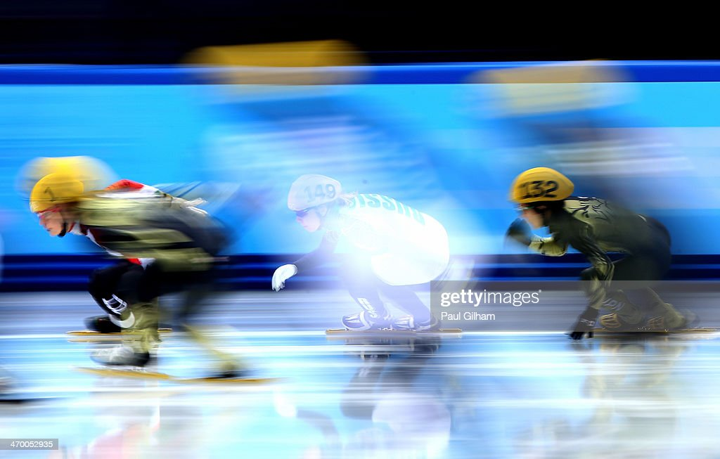 Short track speed skaters compete in the Short Track Ladies' 3000m Relay Final B at Iceberg Skating Palace on day 11 of the 2014 Sochi Winter Olympics on February 18, 2014 in Sochi, Russia.