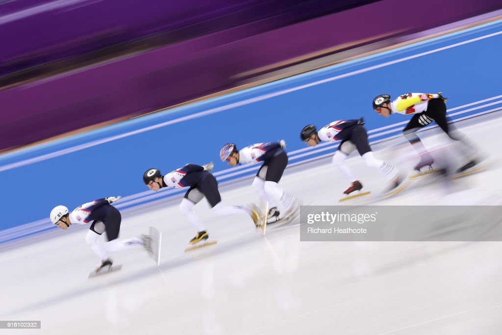 Short Track Speed Skaters from the USA practice during previews ahead of the PyeongChang 2018 Winter Olympic Games at the Gangneung Ice Arena on February 08, 2018 in Pyeongchang-gun, South Korea.
