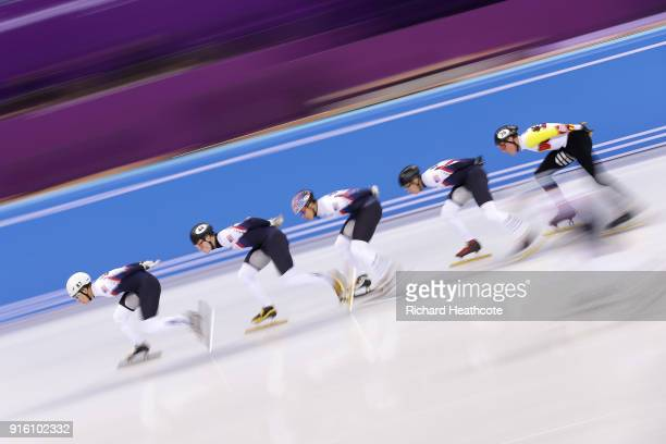 Short Track Speed Skaters from the USA practice during previews ahead of the PyeongChang 2018 Winter Olympic Games at the Gangneung Ice Arena on...