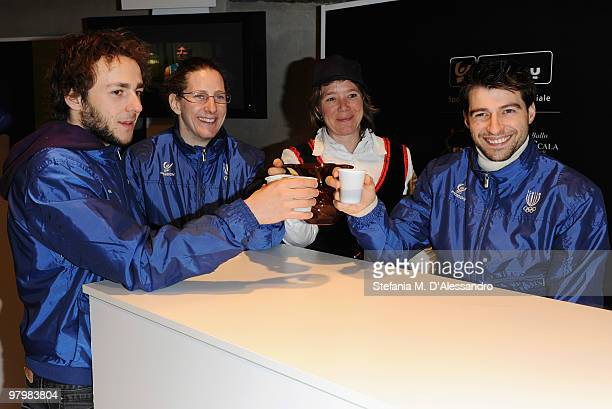 Short track speed skaters Yuri Confortola Cecilia Maffei and Nicola Rodigari attend the Italia Team Tour Event on March 23 2010 in Bormio Italy