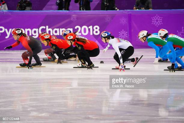 2018 Winter Olympics China Qu Chunyu in action leading the pack during Women's 3000M Relay Final at Gangneung Ice Arena Gangneung South Korea...