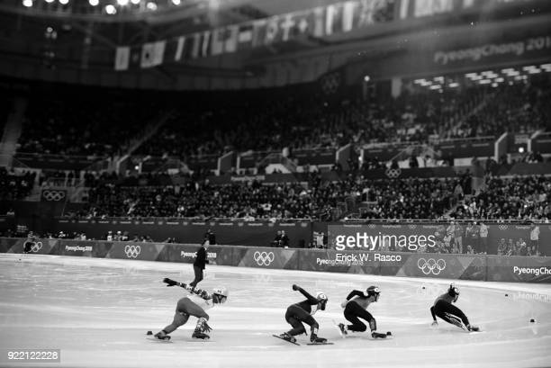 2018 Winter Olympics China Ren Ziwei in action leading Kazakhstan Nurbergen Zhumagaziyev Netherlands Sjinkie Knegt and Olympic Athlete from Olympic...