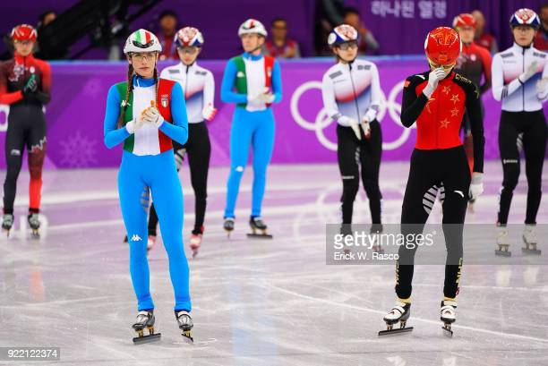 2018 Winter Olympics Italy Martina Valcepina and China Fan Kexin before start of Women's 3000M Relay Final at Gangneung Ice Arena Gangneung South...
