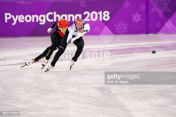 2018 Winter Olympics South Korea Choi Minjeong in action with China Qu Chunyu during Women's 3000M Relay Final at Gangneung Ice Arena South Korea won...