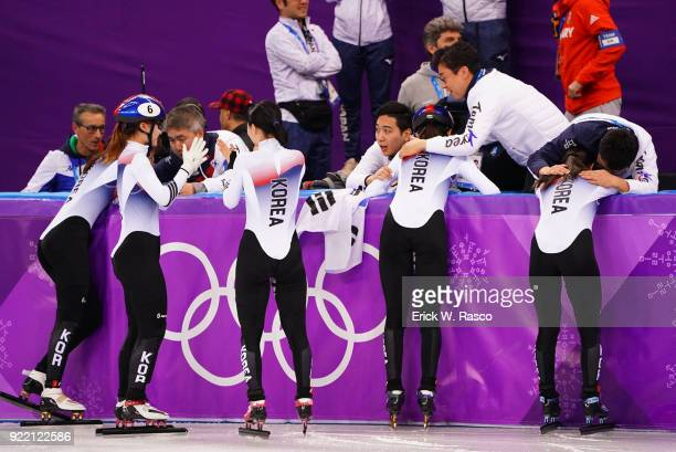 2018 Winter Olympics South Korean team victorious hugging coaches after winning Women's 3000M Relay Final at Gangneung Ice Arena South Korea won gold...