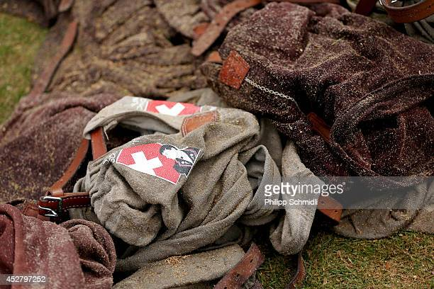 Short wrestling pants made of jute lie on the ground during the Alpine Wrestling Festival BruenigSchwinget at the top of the Bruenig Pass on July 27...