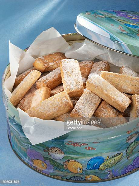 Shortbread biscuits in a biscuit tin (UK)