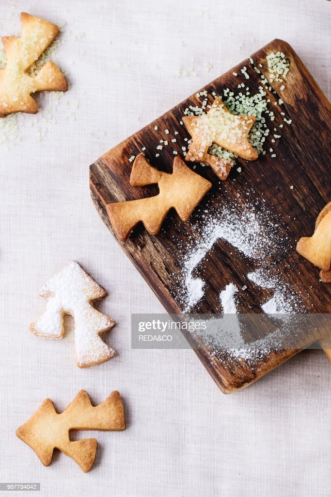 Shortbread Christmas Cookies For Cups In Sugar Powder And Small