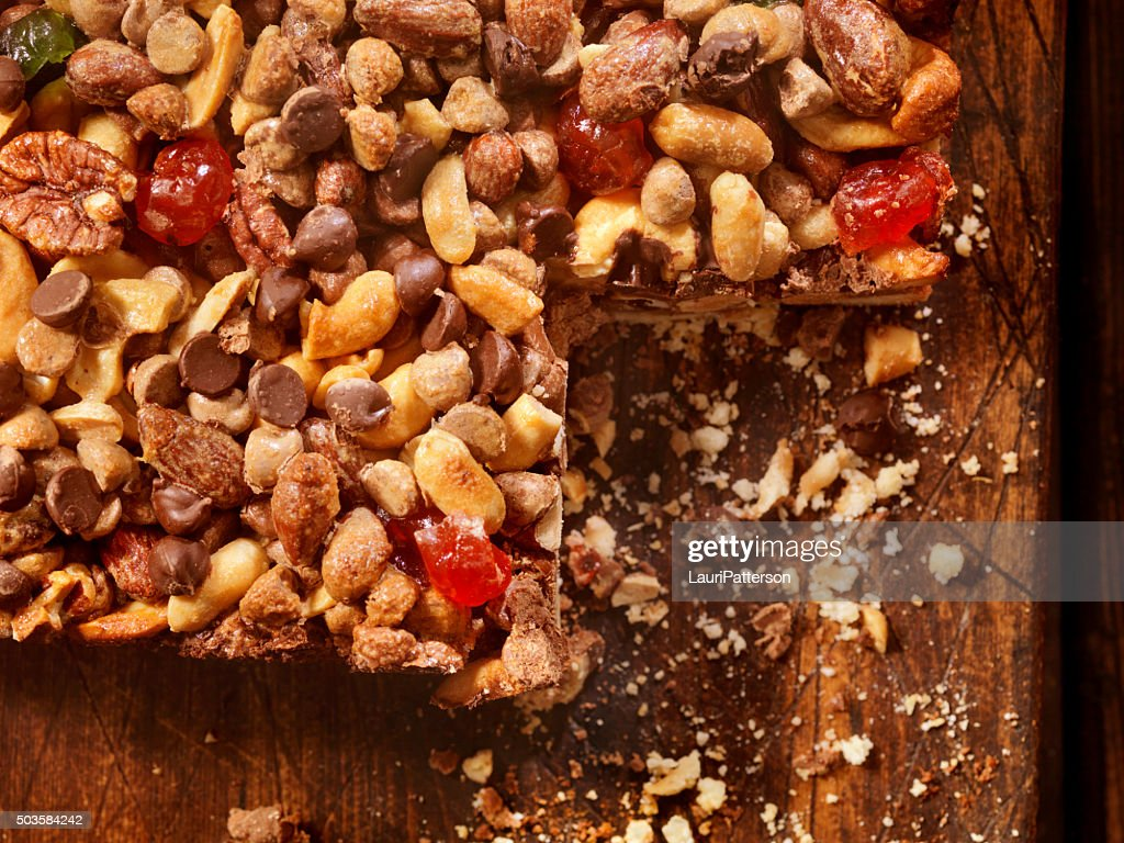Shortbread Squares with Candied Nuts, Fruit and Chocolate : Stock Photo