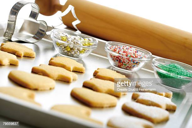 Shortcrust biscuits on baking tray