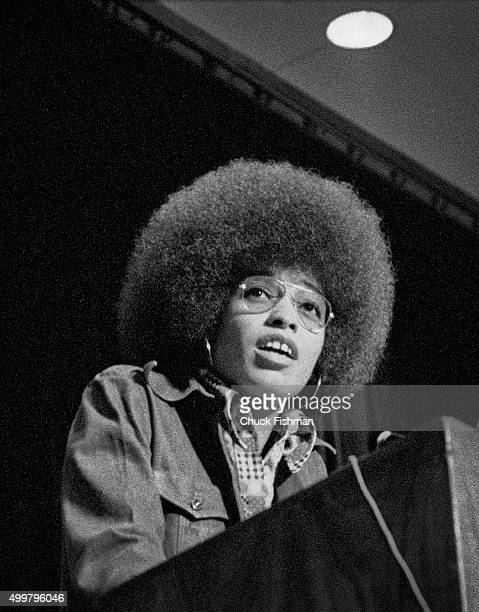 Shortly after her release from jail American political activist and scholar Angela Davis speaks at Northern Illinois University DeKalb Illinois 1972