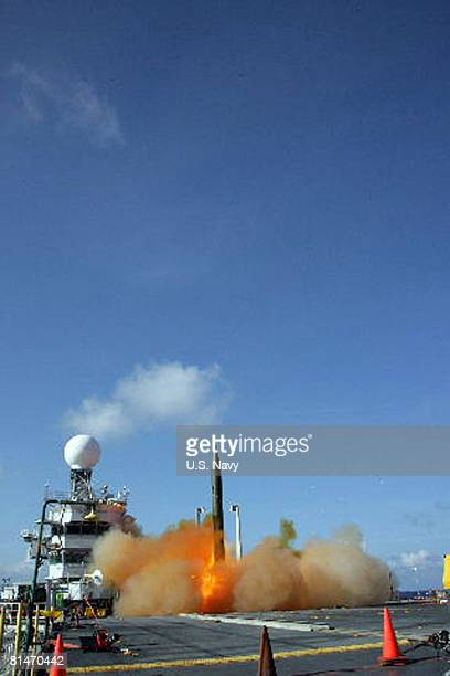 A shortrange unitary ballistic missile Scudlike target lifts off from the decommissioned USS Tripoli in a Missile Defense Agency flight test June 5...