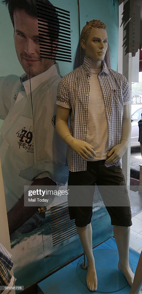 Shorts are displayed at a Wills Lifestyle store in New Delhi on May 26, 2010.