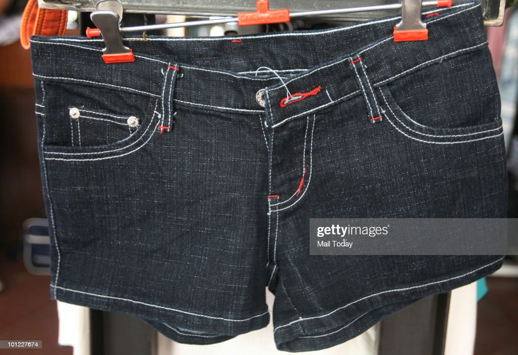 Shorts are displayed at the Metal store at the Basant Lok Complex in New Delhi on May 26, 2010.