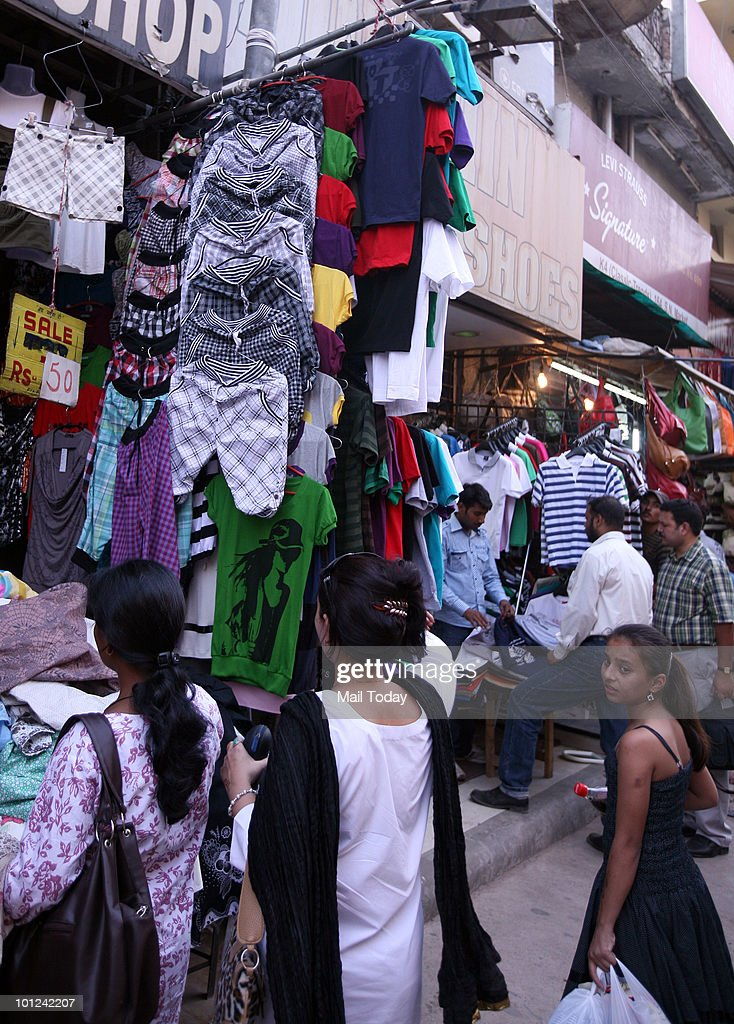 Shorts are displayed at the Sarojini nagar market in New Delhi on May 26, 2010.