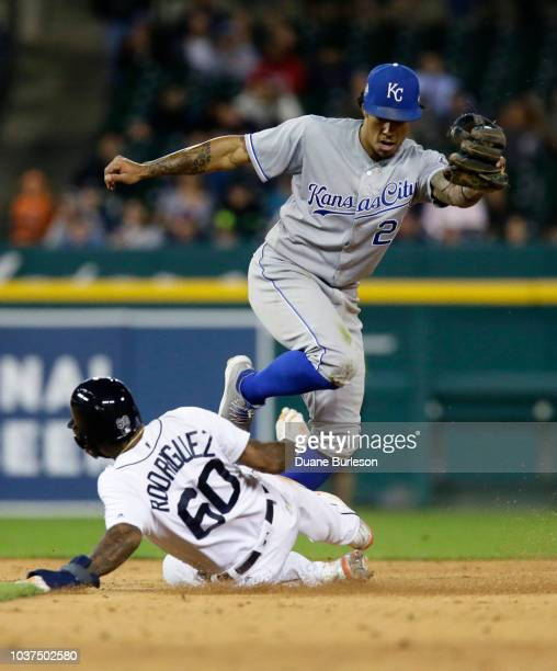 Shortstop Adalberto Mondesi of the Kansas City Royals beats Ronny Rodriguez of the Detroit Tigers to second base for a force out on a hit by James...