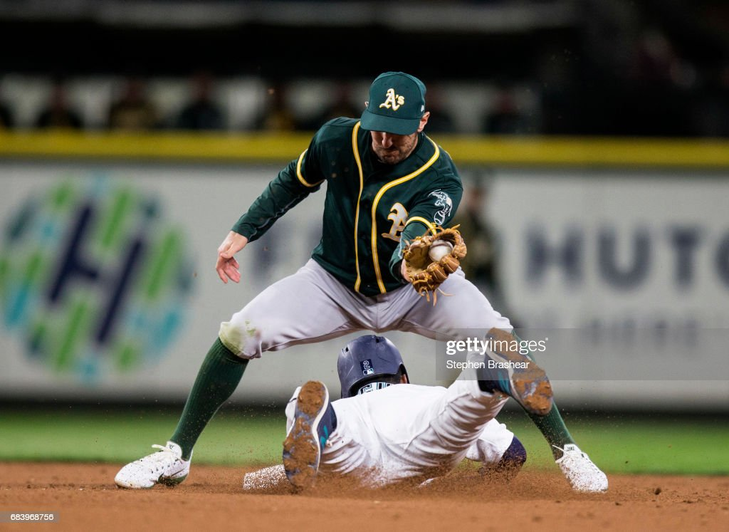 Shortstop Adam Rosales #16 of the Oakland Athletics tags out a stealing Jean Segura #2 of the Seattle Mariners at second base game on a throw by catcher Stephen Vogt #21of the Oakland Athletics during the third inning of a game at Safeco Field on May 16, 2017 in Seattle, Washington.