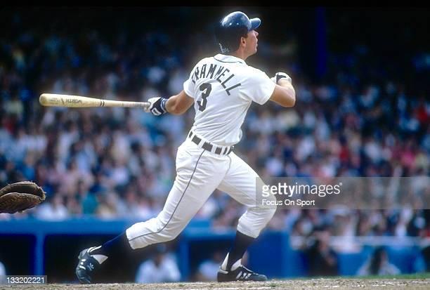 Shortstop Alan Trammell of the Detroit Tigers bats during an Major League baseball game circa 1985 at Tiger Stadium in Detroit Michigan Trammell...