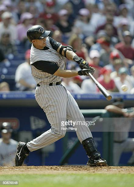 Shortstop Alex Cintron of the Arizona Diamondbacks at bat during the game against the Philadelphia Phillies at Citizens Bank Park on May 2 2004 in...