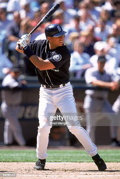 Shortstop Alex Rodriguez of the Seattle Mariners at bat during a 1999 season game