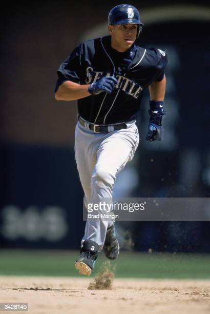 Shortstop Alex Rodriguez of the Seattle Mariners rounds the bases on June 10 2000