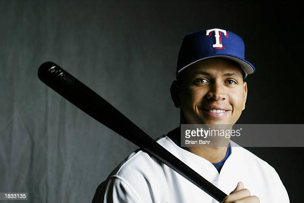 Shortstop Alex Rodriguez of the Texas Rangers smiles during spring training media day February 26 in Surprise Arizona