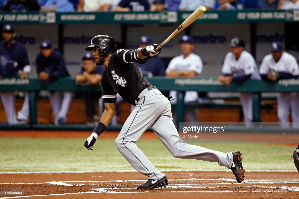 Shortstop Alexei Ramirez #10 of the Chicago White Sox fouls off a pitch against the Tampa Bay Rays during the game at Tropicana Field on July 5, 2013 in St. Petersburg, Florida.
