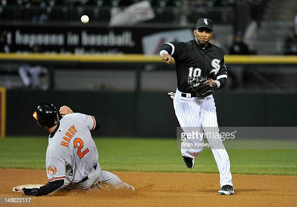 Shortstop Alexei Ramirez of the Chicago White Sox throws to first base to complete a double play on a ground ball hit by Nick Markakis of the...