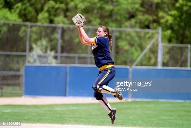 Shortstop Alison Cole of Ithaca College leaps for a catch against Lake Forest College during the Division III Women's Softball Championship held at...
