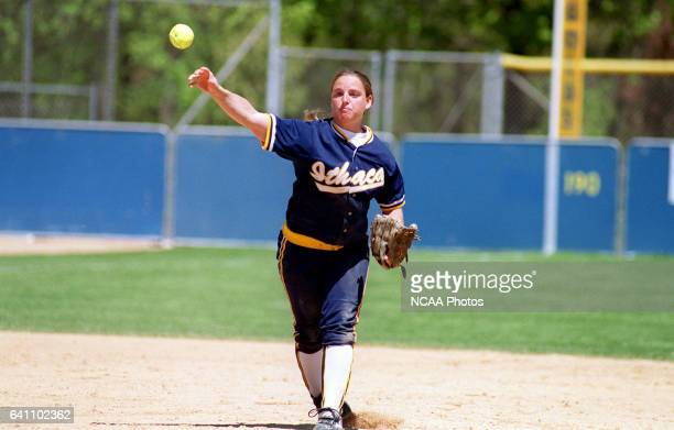 Shortstop Alison Cole of Ithaca College makes a put out against Lake Forest College during the Division III Women's Softball Championship held at...