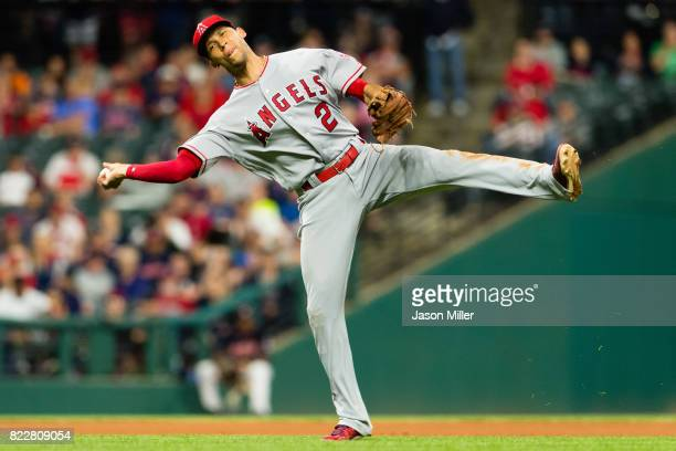 Shortstop Andrelton Simmons of the Los Angeles Angels of Anaheim throws out Austin Jackson of the Cleveland Indians at first base to end the seventh...