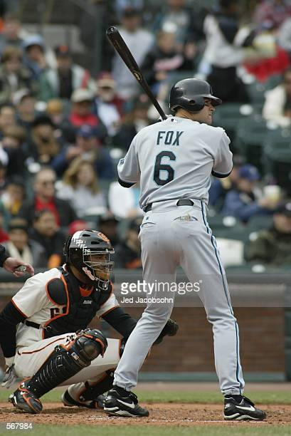 Shortstop Andy Fox of the Florida Marlins waits for the pitch during the MLB game against the San Francisco Giants at Pacific Bell Park in San...
