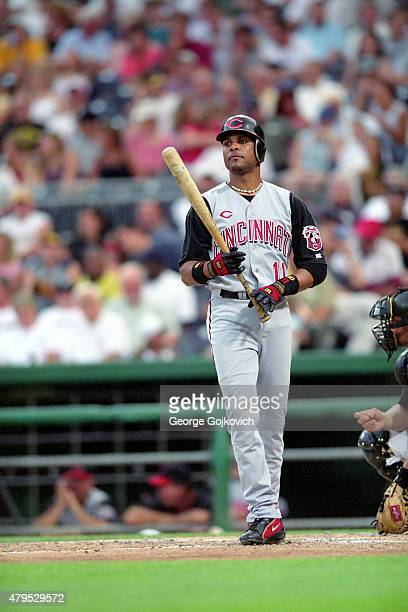 Shortstop Barry Larkin of the Cincinnati Reds looks on from the field before batting during a Major League Baseball game against the Pittsburgh...