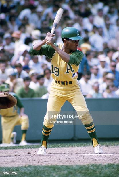 Shortstop Bert Campaneris of the Oakland A's at bat during a game in 1969 against the Boston Red Sox at Fenway Park in Boston Massachusetts Bert...
