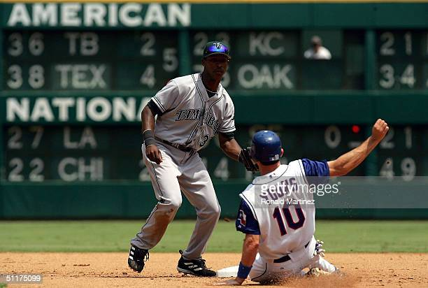 Shortstop BJ Upton of the Tampa Bay Devil Rays makes the out at second base on Michael Young of the Texas Rangers on August 15 2004 at Ameriquest...