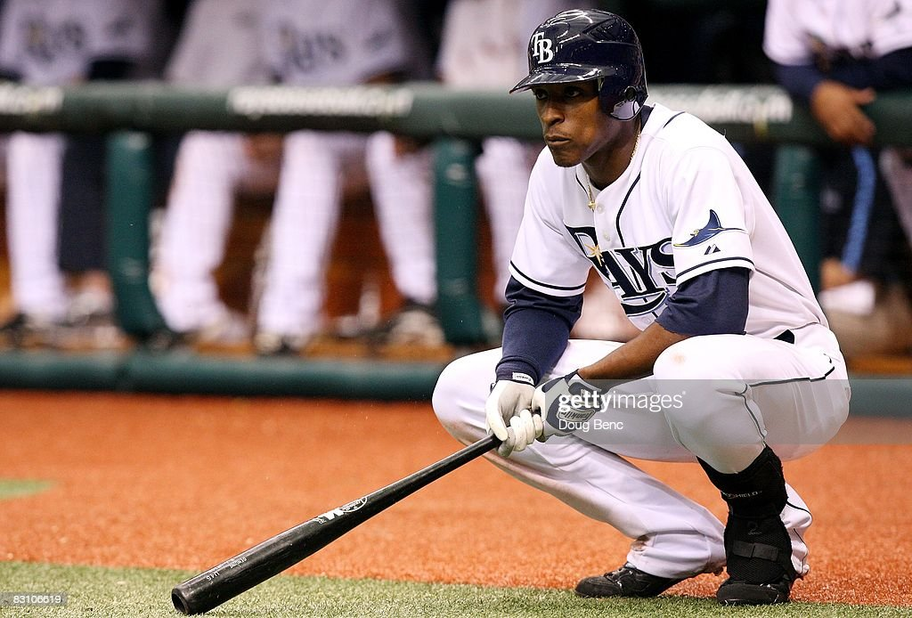 Shortstop B.J. Upton #2 of the Tampa Bay Rays waits on deck in the eighth inning while taking on the Chicago White Sox in Game 1 of the American Leaugue Divisional Series at Tropicana Field on October 2, 2008 in St. Petersburg, Florida. The Rays defeated the White Sox 6-4.