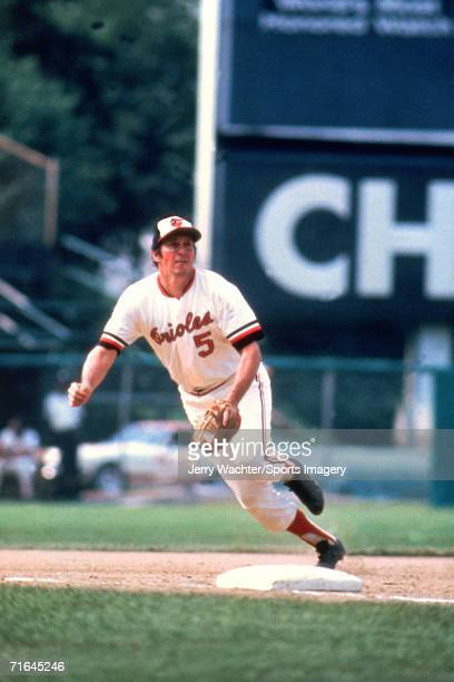 Shortstop Brooks Robinson of the Baltimore Orioles fielding